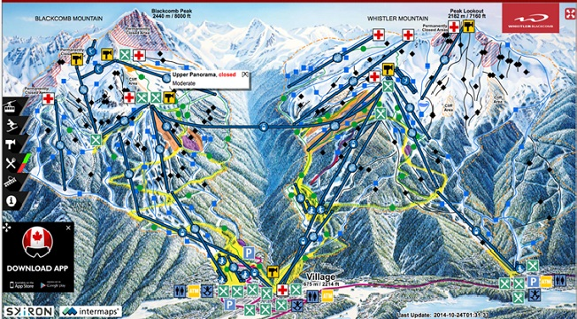 Gondola map for Peak Gondola Whistler and the junctions of lifts ...